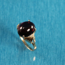 Load image into Gallery viewer, 14k Yellow Solid Gold 10mm x 12mm Cabochon Cut Genuine Garnet Ring