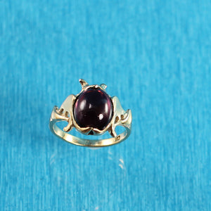 14k Yellow Solid Gold Cabochon Cut Genuine & Natural Garnet Ring