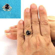 Load image into Gallery viewer, 14k Yellow Solid Gold Cabochon Cut Genuine & Natural Garnet Ring