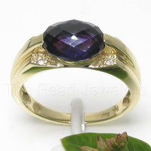 Load image into Gallery viewer, 14k Yellow Solid Gold 7x9 mm Oval Cut Genuine Amethyst Solitaire Ring