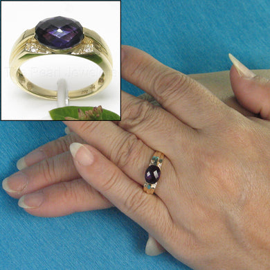 14k Yellow Solid Gold 7x9 mm Oval Cut Genuine Amethyst Solitaire Ring