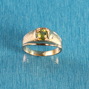 14K Solid Yellow Gold Peridot Solitaire Ring for Man or Lady