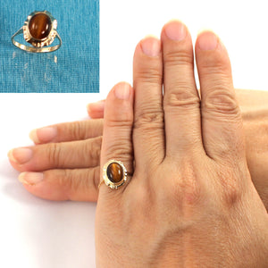 14K Solid Yellow Gold Tiger-eyes Solitaire Ring