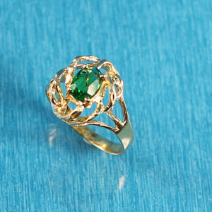 14K Solid Yellow Gold Emerald Solitaire Ring
