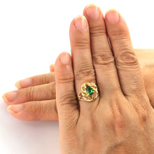 Load image into Gallery viewer, 14K Solid Yellow Gold Emerald Solitaire Ring