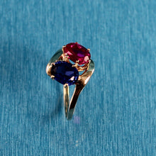 Load image into Gallery viewer, 14K Solid Yellow Gold Ruby & Sapphire Cocktail Ring