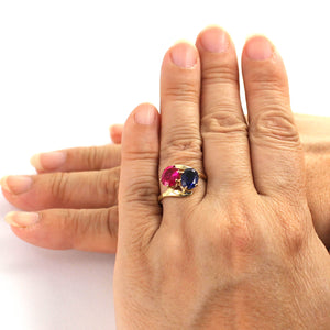 14K Solid Yellow Gold Ruby & Sapphire Cocktail Ring