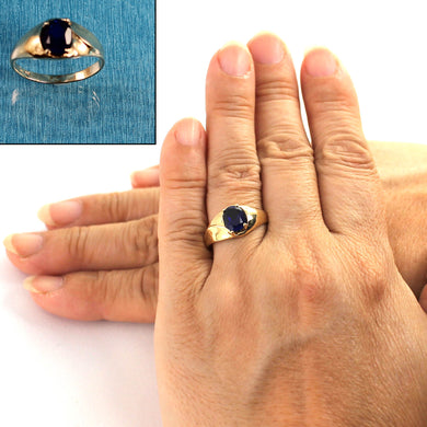 14K Solid Yellow Gold Sapphire Solitaire Ring
