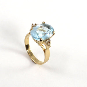 Blue Topaz & Diamond 14k Yellow Gold Ring