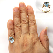 Load image into Gallery viewer, Blue Topaz & Diamond 14k Yellow Gold Ring