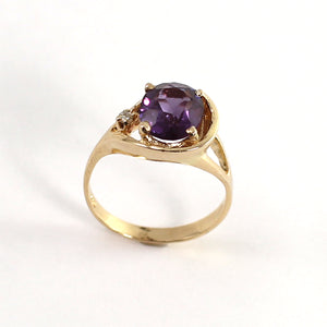 Genuine Amethyst & Diamond 14k Yellow Gold Ring