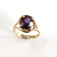 Load image into Gallery viewer, Genuine Amethyst & Diamond 14k Yellow Gold Ring