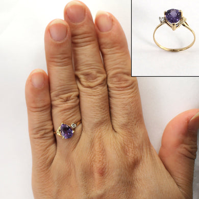 Pear Shaped Genuine Amethyst & Diamond 14k Yellow Gold Ring