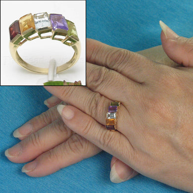 14k Solid Yellow Gold Genuine Baguette Gemstone Rainbow Cocktail Ring