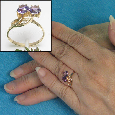 14k Yellow Solid Gold 5x6 mm Heart Genuine Amethyst Cocktail Ring