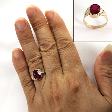 Synthetic Ruby & Genuine Diamond 14k Yellow Gold Ring