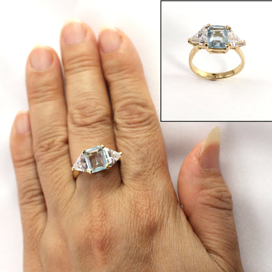 Cubic Zirconia & Blue Topaz 14k Yellow Gold Ring