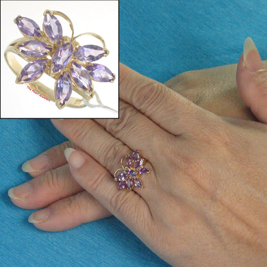 14k Yellow Solid Gold Marquise Cut Amethyst Butterfly Cocktail Ring