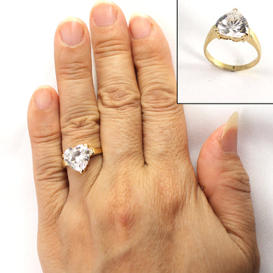 Heart Shaped Cubic Zirconia 14k Yellow Gold Ring