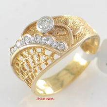 Load image into Gallery viewer, 14k Solid Yellow Gold Round Brilliant Cut Genuine Diamonds Cocktail Ring