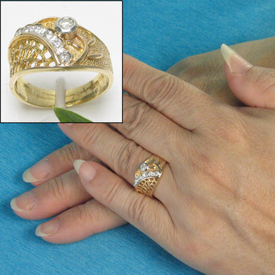 14k Solid Yellow Gold Round Brilliant Cut Genuine Diamonds Cocktail Ring