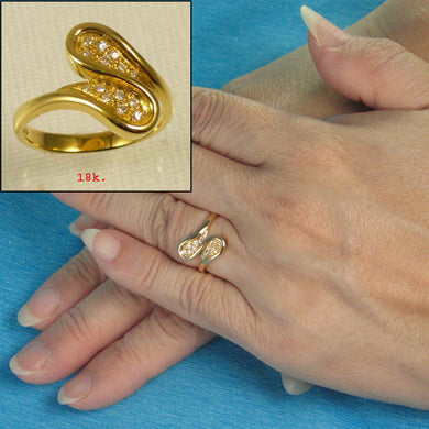 18k Yellow Solid Gold with Genuine Diamonds Cocktail Ring