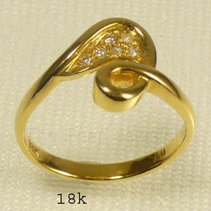 18k Yellow Solid Gold Genuine Diamonds Cocktail Ring
