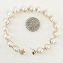Load image into Gallery viewer, 14k Solid Yellow Gold 7 Inches Stationary White Cultured Pearl Bracelet
