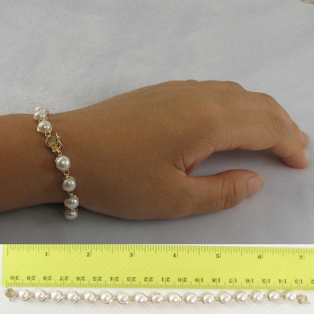14k Solid Yellow Gold 7 Inches Stationary White Cultured Pearl Bracelet