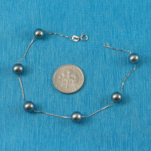 14k White Gold 6.5-7mm Grey Cultured Pearl Handcrafted Tin-Cup Bracelet