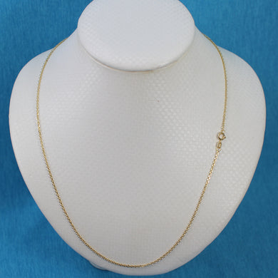 Cable D/C Style 1.5mm Chain 14k Solid Yellow Gold Necklace