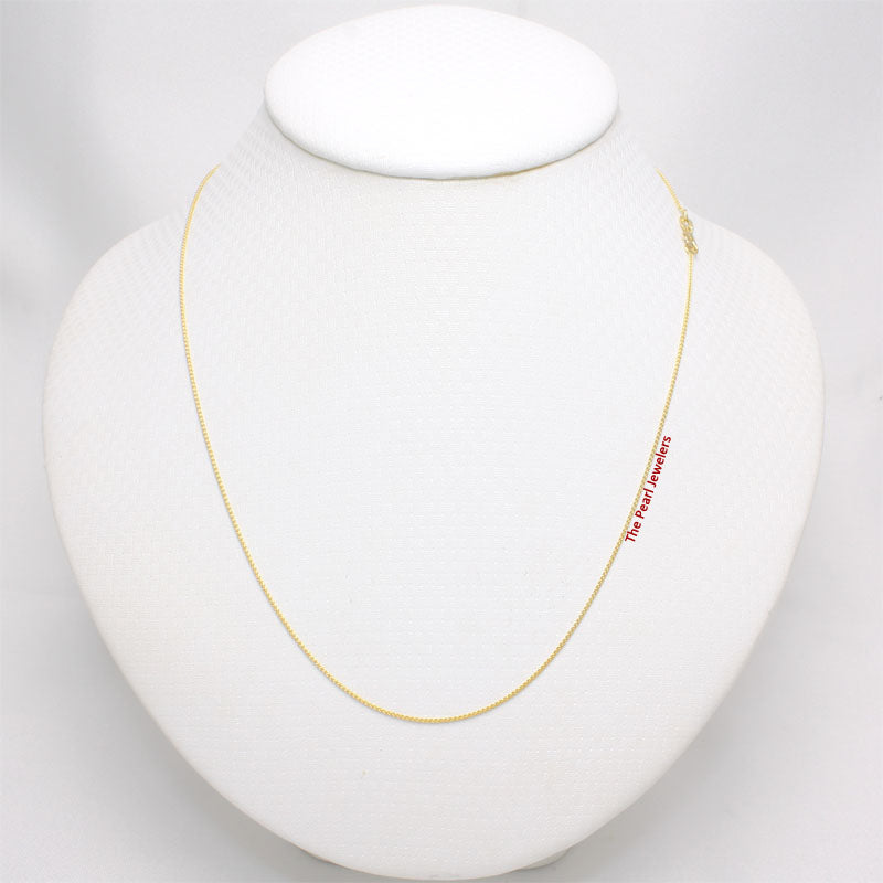 Solid 14k Yellow Gold Round Wheat Style 0.85 mm Chain Necklace