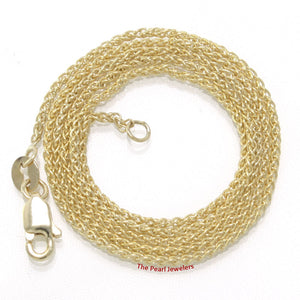 14k Solid Yellow Gold Round Wheat Style 1.3mm Chain Necklace