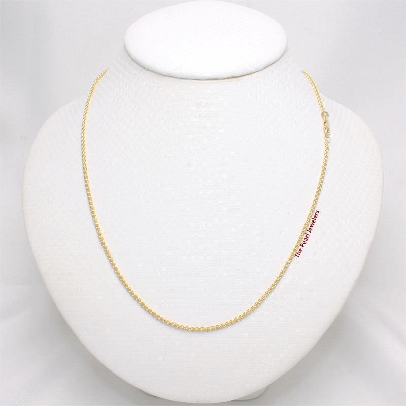 1.8 mm 14k Solid Yellow Gold Round Wheat Style Chain Necklace