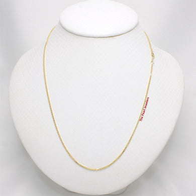 14k Solid Yellow Gold Square Wheat Style 1.3mm Chain Necklace