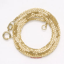Load image into Gallery viewer, 14k Solid Yellow Gold Square Wheat Style 1.3mm Chain Necklace