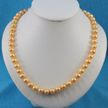 Load image into Gallery viewer, 600069G10-Golden-Cultured-Pearl-Hand-Knot-Magnet-Clasp-Necklace