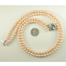 Load image into Gallery viewer, 600191-842-Nature-Pink-Pearl-Double-Lanes-Necklace-Silver-925-Clasp