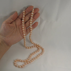 600565S24L-Silver-925-Clasps-Natural-Pink-Pearl-Knot-Necklaces