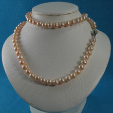 Load image into Gallery viewer, 600565S24L-Silver-925-Clasps-Natural-Pink-Pearl-Knot-Necklaces