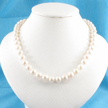 Load image into Gallery viewer, 600718-34-Beautiful-White-Pearl-Hand-Knot-Necklace-14k-Yellow-Gold-Clasps