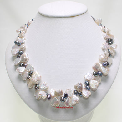 613277S31-Love-Heart-Silver-White-Coin-Rice-Pearl Necklace