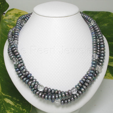6940505S35-Black-Roundel-Cultured-Freshwater-Pearls-Twist-Necklace