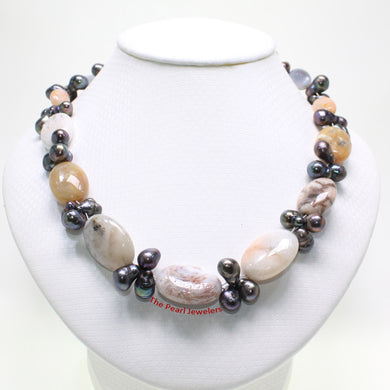 696025S23B-Baroque-Agate-Black-Freshwater-Pearl-Handcrafted-Necklace