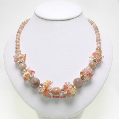 696036S23-Baroque-Pearls-Gemstone-Agate Beautiful-Unique-Necklace