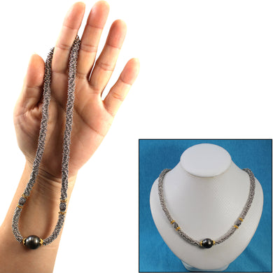 6T0006S19-Beautiful-Silver-.925-Bali-Beads-Black-Tahitian-Pearl-Necklace