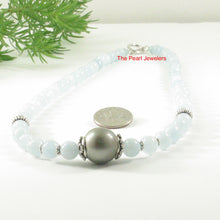 Load image into Gallery viewer, 6T0011S25-Silver-925-Bali-Beads-Gray-Tahitian-Pearl-Aquamarine-Necklace