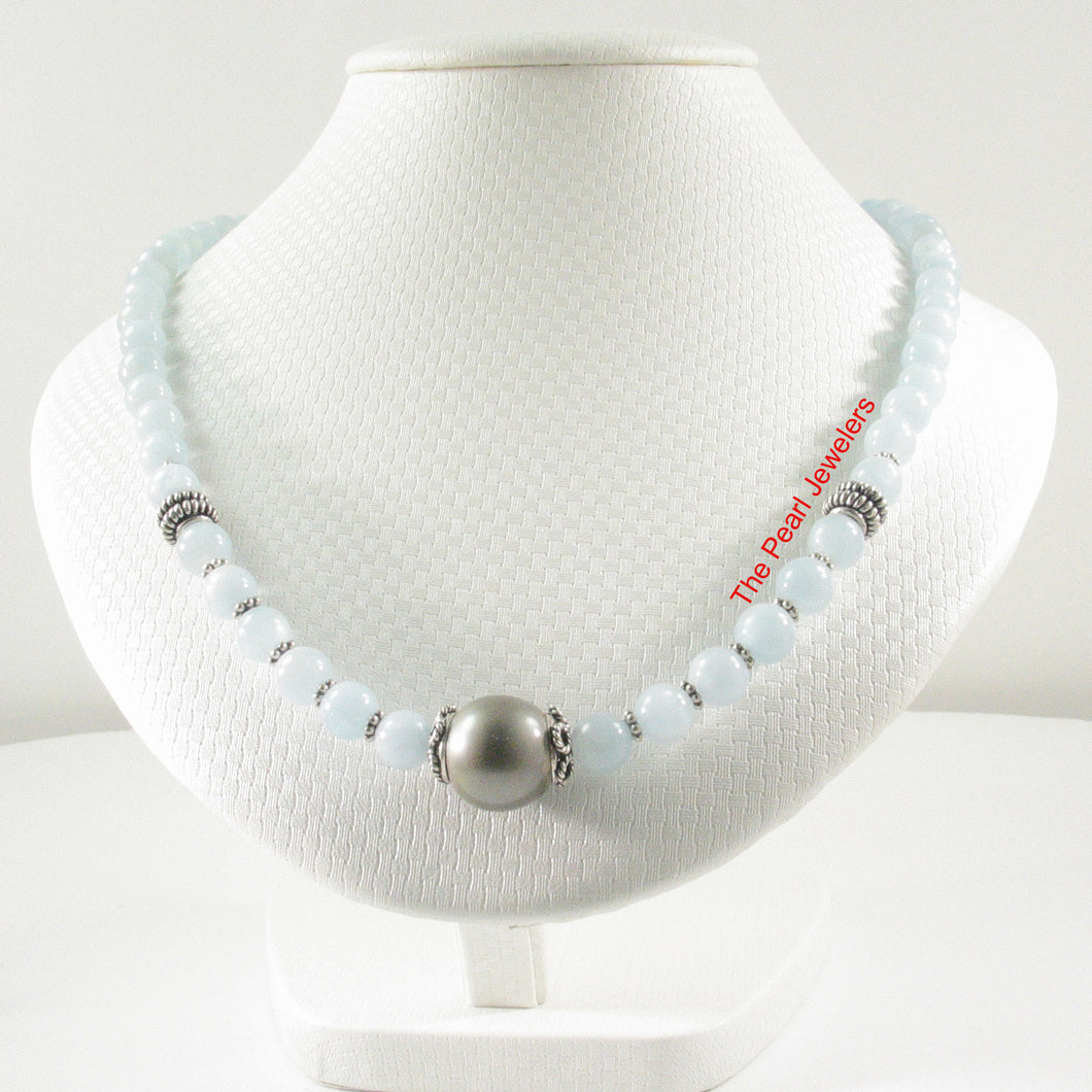 6T0011S25-Silver-925-Bali-Beads-Gray-Tahitian-Pearl-Aquamarine-Necklace