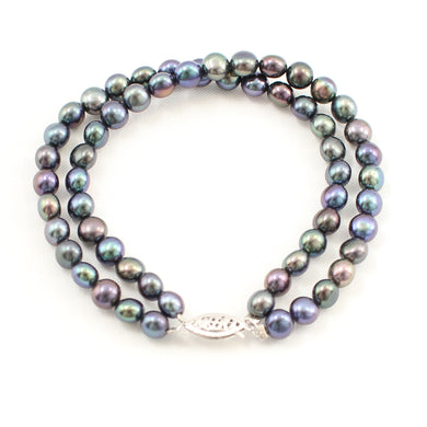 700107-035-14k-White-Gold-Clasp-Pearl-Double-Strands-Bracelet