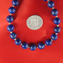 Load image into Gallery viewer, Natural 8mm Lapis Lazuli Beads; 14k Yellow Gold Clasp & 14k 2.5mm Beads Bracelet